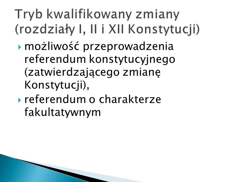  możliwość przeprowadzenia referendum konstytucyjnego (zatwierdzającego zmianę Konstytucji),  referendum o charakterze fakultatywnym