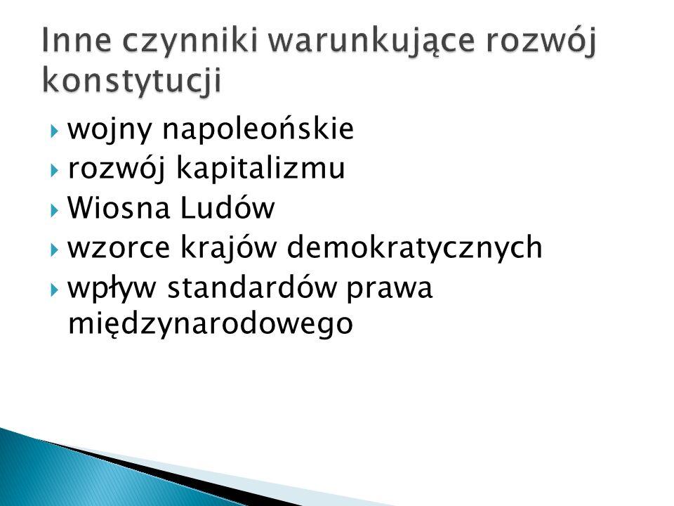  historyczny – konstytucja oktrojowana - nadawana przez monarchę,  np.