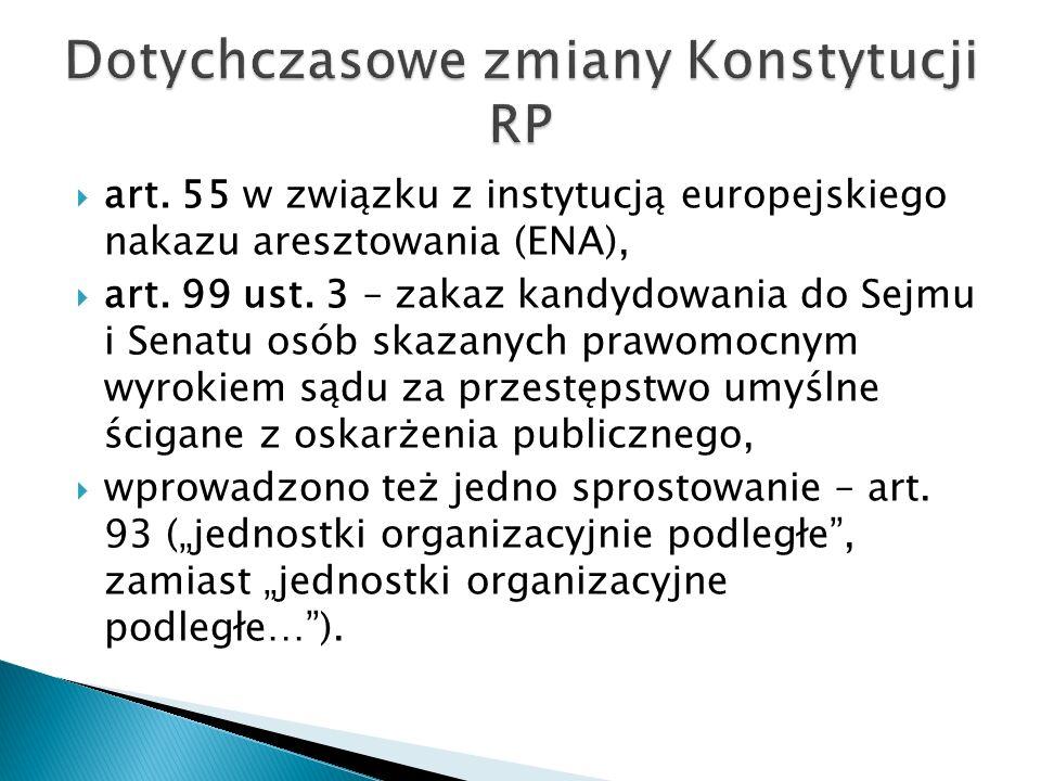  art. 55 w związku z instytucją europejskiego nakazu aresztowania (ENA),  art.