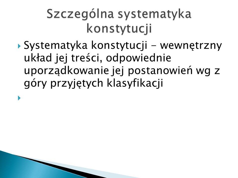  Systematyka konstytucji - wewnętrzny układ jej treści, odpowiednie uporządkowanie jej postanowień wg z góry przyjętych klasyfikacji 