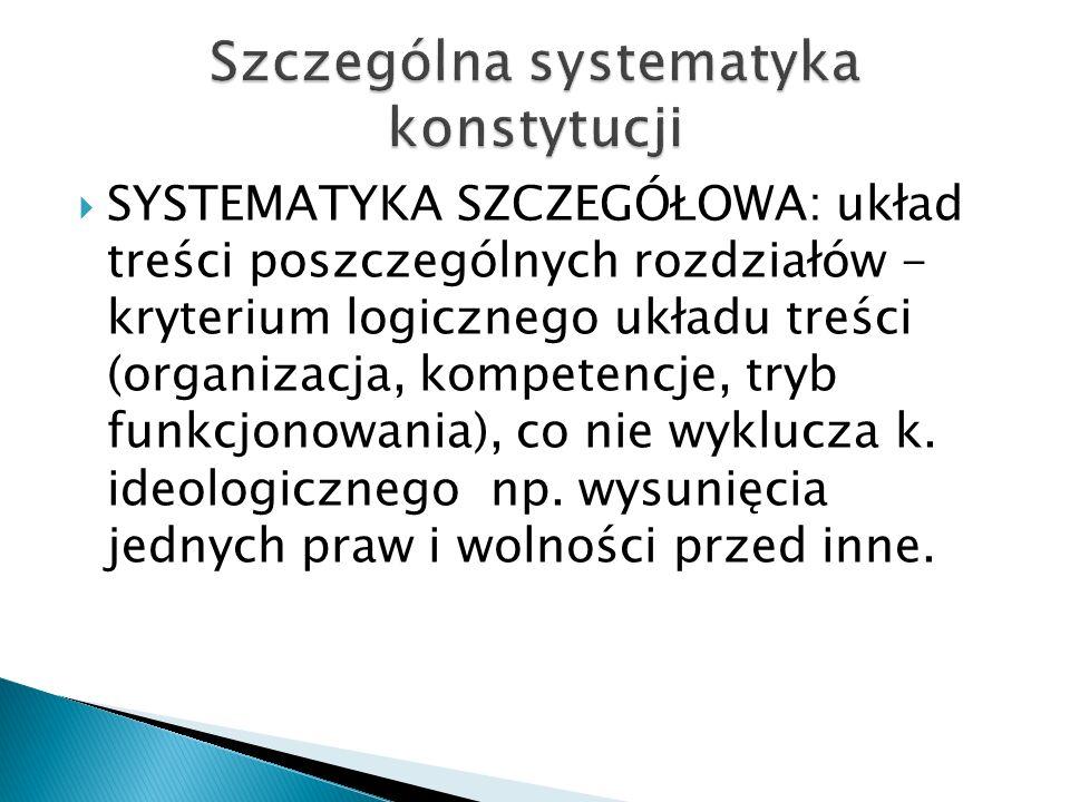  SYSTEMATYKA SZCZEGÓŁOWA: układ treści poszczególnych rozdziałów - kryterium logicznego układu treści (organizacja, kompetencje, tryb funkcjonowania), co nie wyklucza k.