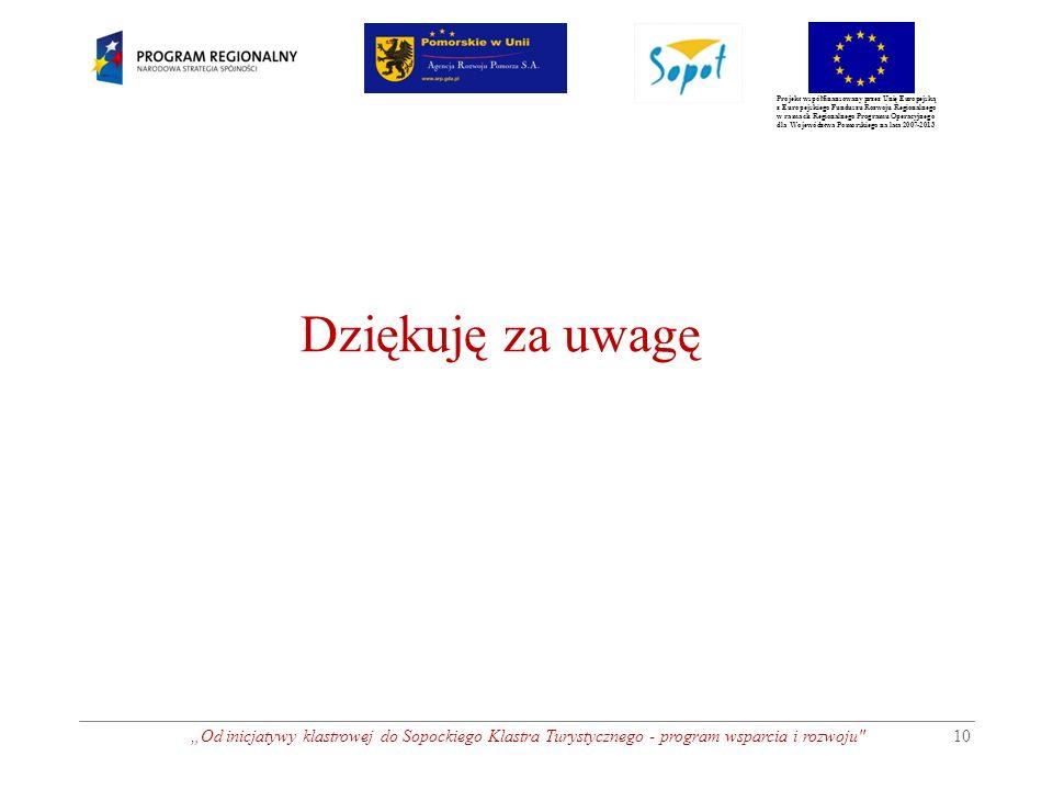 """Projekt współfinansowany przez Unię Europejską z Europejskiego Funduszu Rozwoju Regionalnego w ramach Regionalnego Programu Operacyjnego dla Województwa Pomorskiego na lata 2007-2013 """"Od inicjatywy klastrowej do Sopockiego Klastra Turystycznego - program wsparcia i rozwoju 10 Dziękuję za uwagę"""