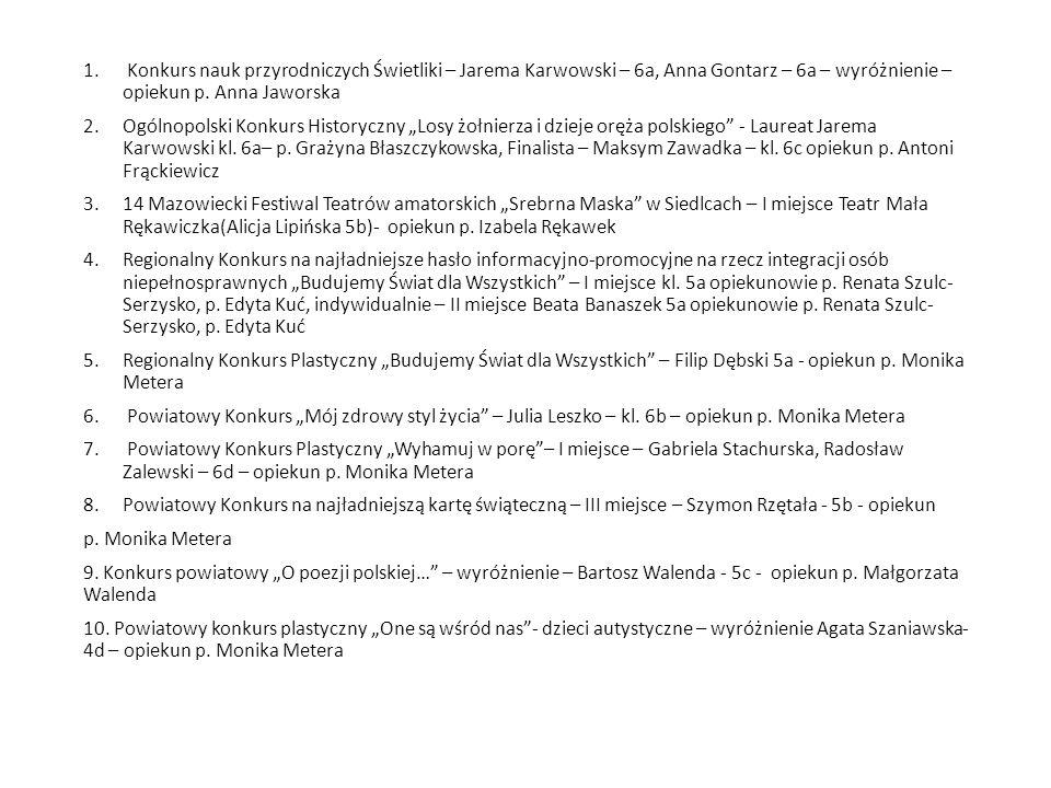 1. Konkurs nauk przyrodniczych Świetliki – Jarema Karwowski – 6a, Anna Gontarz – 6a – wyróżnienie – opiekun p. Anna Jaworska 2.Ogólnopolski Konkurs Hi