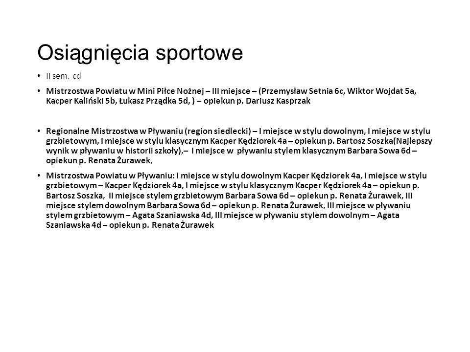 Osiągnięcia sportowe II sem.