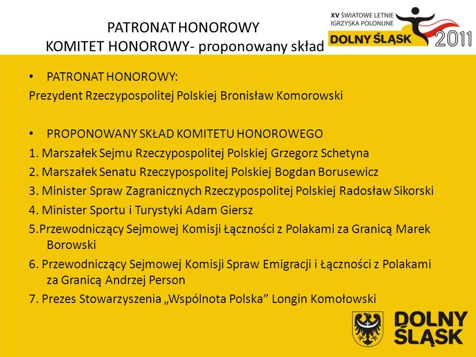 PATRONAT HONOROWY KOMITET HONOROWY- proponowany skład PATRONAT HONOROWY: Prezydent Rzeczypospolitej Polskiej Bronisław Komorowski PROPONOWANY SKŁAD KOMITETU HONOROWEGO 1.