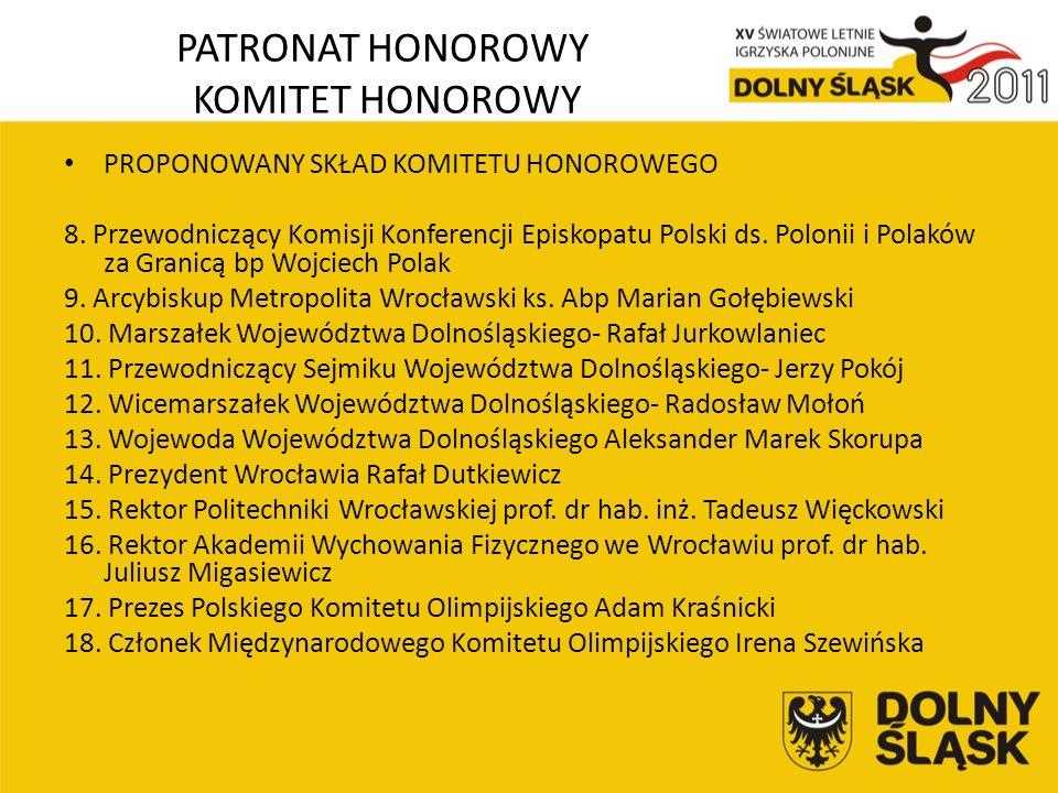 PATRONAT HONOROWY KOMITET HONOROWY PROPONOWANY SKŁAD KOMITETU HONOROWEGO 8.