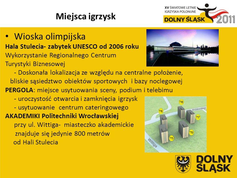 Miejsca igrzysk Wioska olimpijska Hala Stulecia- zabytek UNESCO od 2006 roku Wykorzystanie Regionalnego Centrum Turystyki Biznesowej - Doskonała lokalizacja ze względu na centralne położenie, bliskie sąsiedztwo obiektów sportowych i bazy noclegowej PERGOLA: miejsce usytuowania sceny, podium i telebimu - uroczystość otwarcia i zamknięcia igrzysk - usytuowanie centrum cateringowego AKADEMIKI Politechniki Wrocławskiej przy ul.