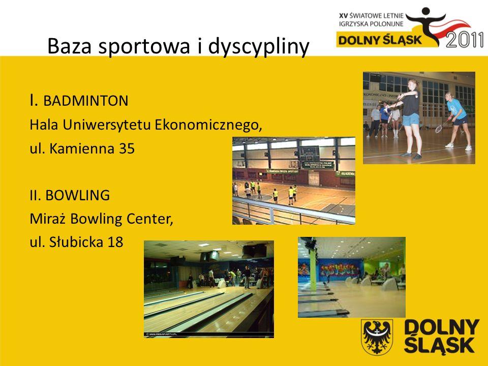 Baza sportowa i dyscypliny I. BADMINTON Hala Uniwersytetu Ekonomicznego, ul.