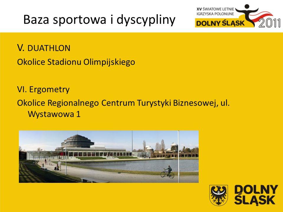 Baza sportowa i dyscypliny V. DUATHLON Okolice Stadionu Olimpijskiego VI.