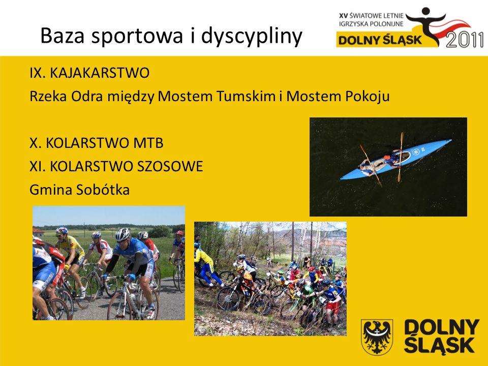Baza sportowa i dyscypliny IX. KAJAKARSTWO Rzeka Odra między Mostem Tumskim i Mostem Pokoju X.