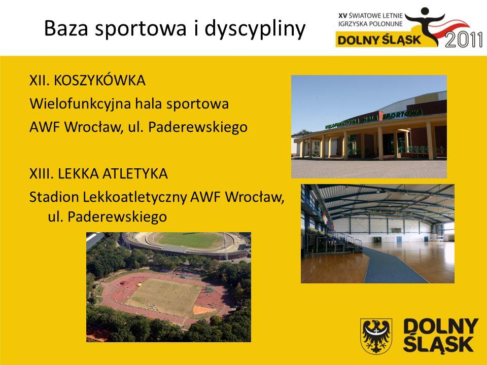 Baza sportowa i dyscypliny XII. KOSZYKÓWKA Wielofunkcyjna hala sportowa AWF Wrocław, ul.