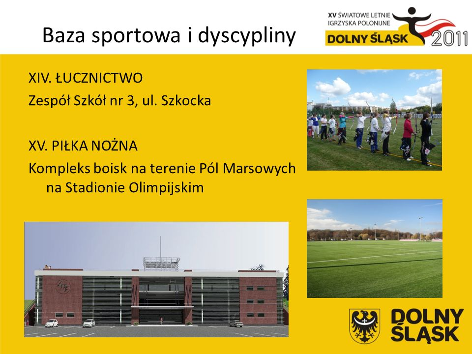 Baza sportowa i dyscypliny XIV. ŁUCZNICTWO Zespół Szkół nr 3, ul.