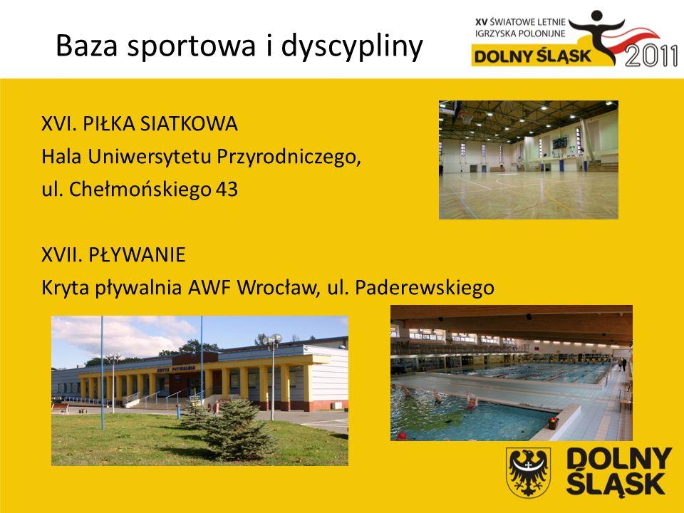 Baza sportowa i dyscypliny XVI. PIŁKA SIATKOWA Hala Uniwersytetu Przyrodniczego, ul.