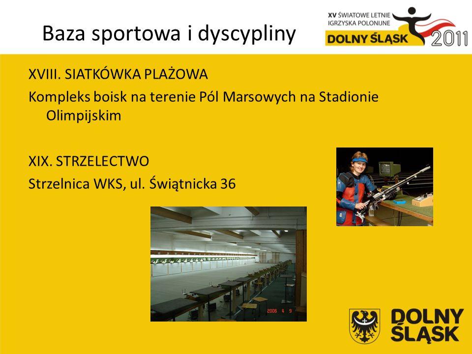 Baza sportowa i dyscypliny XVIII.