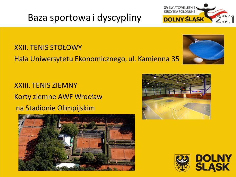 Baza sportowa i dyscypliny XXII. TENIS STOŁOWY Hala Uniwersytetu Ekonomicznego, ul.