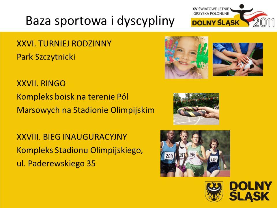 Baza sportowa i dyscypliny XXVI. TURNIEJ RODZINNY Park Szczytnicki XXVII.