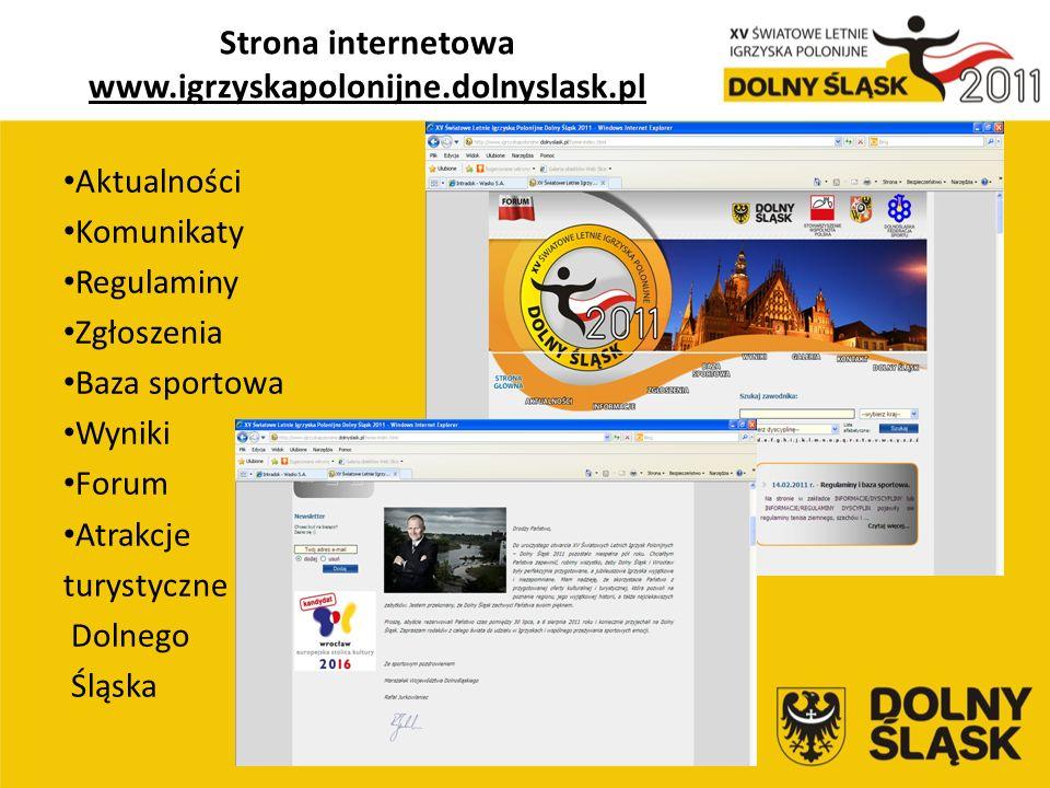 Strona internetowa www.igrzyskapolonijne.dolnyslask.pl Aktualności Komunikaty Regulaminy Zgłoszenia Baza sportowa Wyniki Forum Atrakcje turystyczne Dolnego Śląska