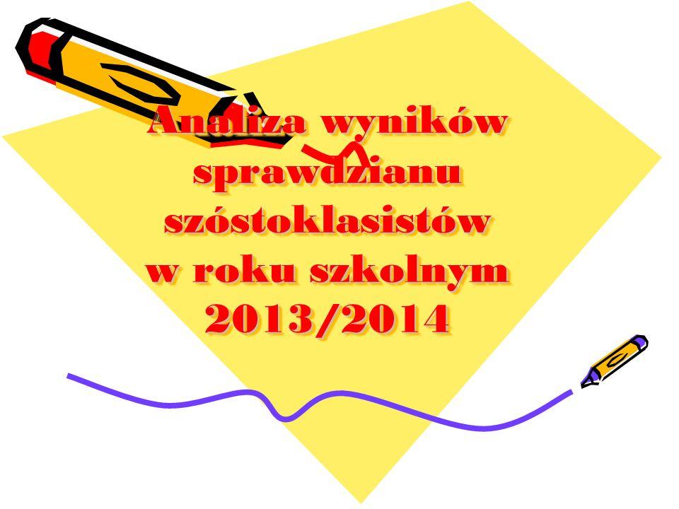Analiza wyników sprawdzianu szóstoklasistów w roku szkolnym 2013/2014