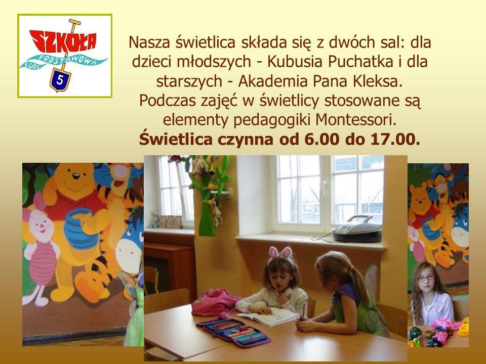 Nasza świetlica składa się z dwóch sal: dla dzieci młodszych - Kubusia Puchatka i dla starszych - Akademia Pana Kleksa.
