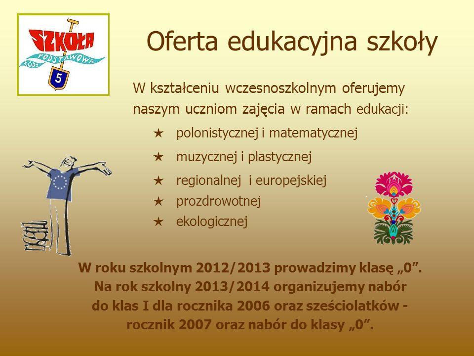 """Posiadamy tytuły i certyfikaty: """"Szkoła z Klasą Laboratorium Szkoła z Klasą 2.0 Szkoła Europejska """"Na Łęczyckiej stoi szkoła."""