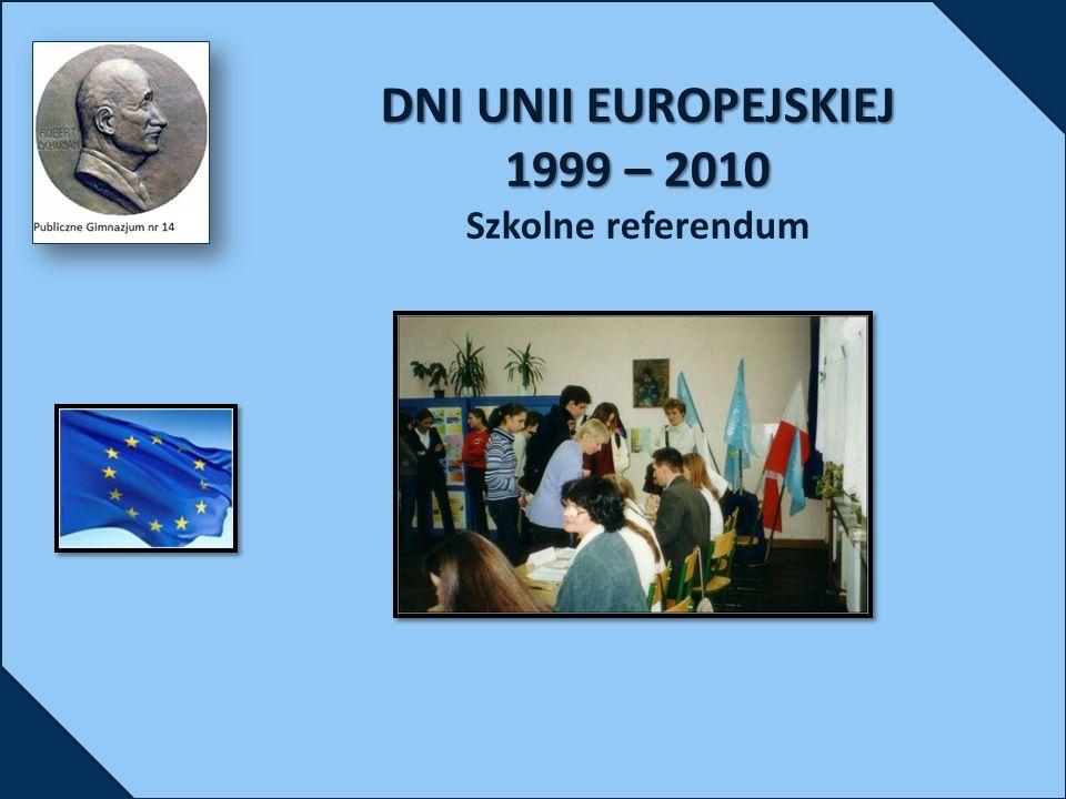 DNI UNII EUROPEJSKIEJ 1999 – 2010 DNI UNII EUROPEJSKIEJ 1999 – 2010 Szkolne referendum