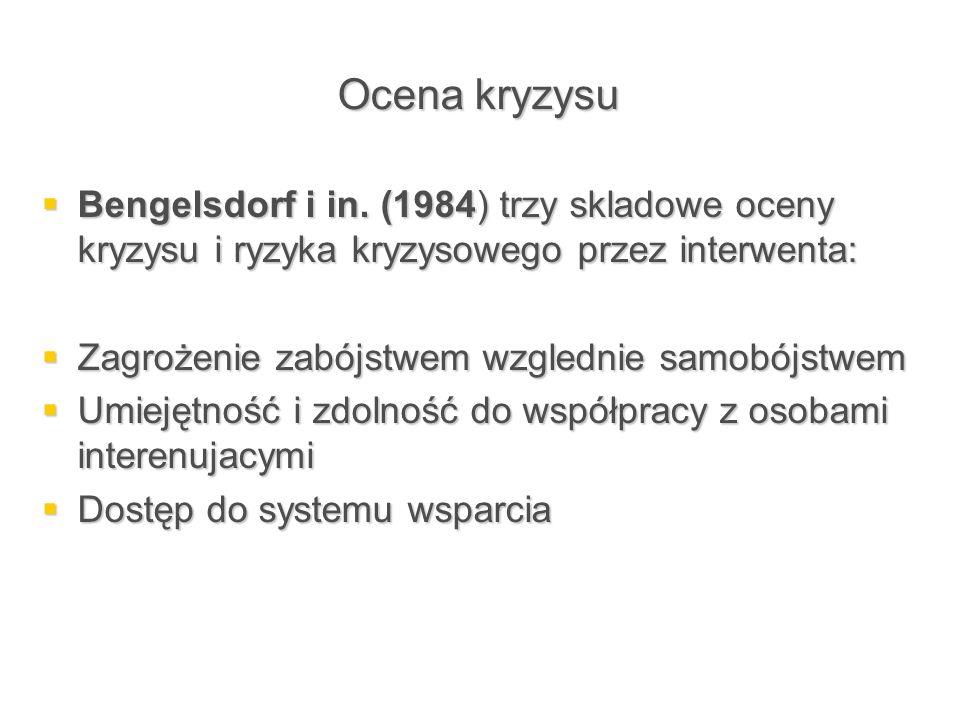 Ocena kryzysu  Bengelsdorf i in. (1984) trzy skladowe oceny kryzysu i ryzyka kryzysowego przez interwenta:  Zagrożenie zabójstwem wzglednie samobójs