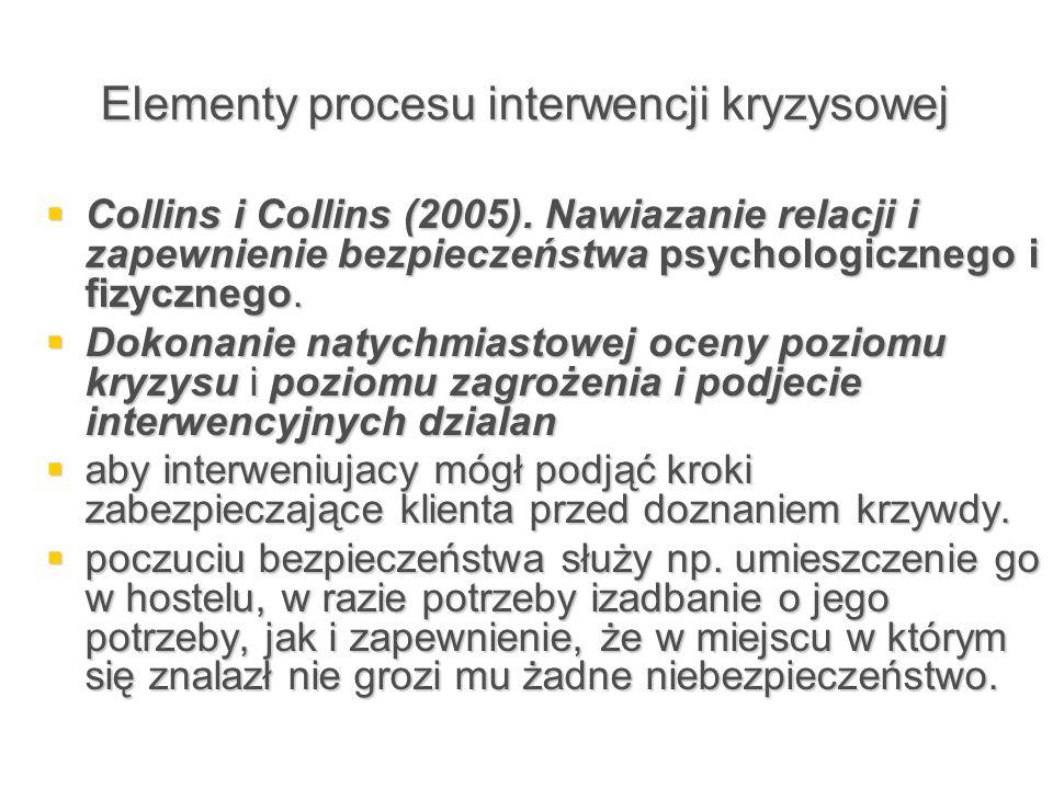 Elementy procesu interwencji kryzysowej  Collins i Collins (2005). Nawiazanie relacji i zapewnienie bezpieczeństwa psychologicznego i fizycznego.  D