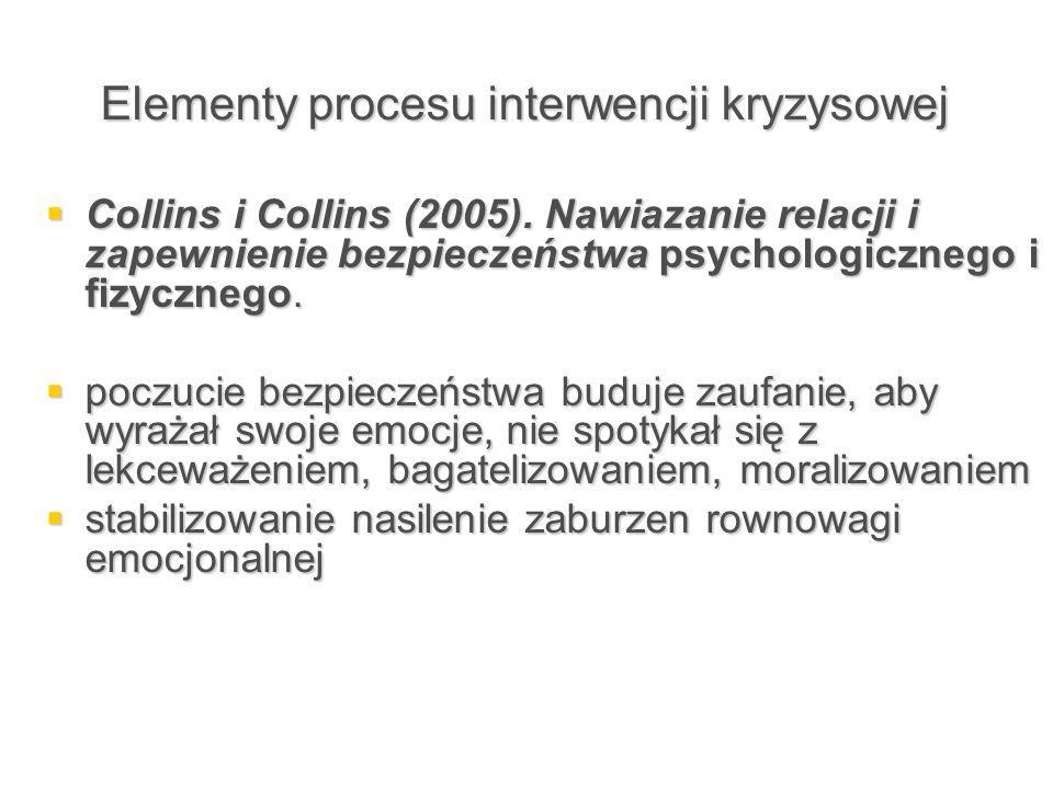 Elementy procesu interwencji kryzysowej  Collins i Collins (2005). Nawiazanie relacji i zapewnienie bezpieczeństwa psychologicznego i fizycznego.  p