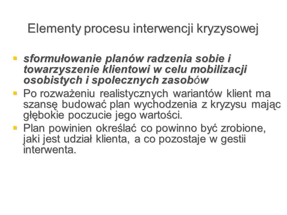 Elementy procesu interwencji kryzysowej  sformułowanie planów radzenia sobie i towarzyszenie klientowi w celu mobilizacji osobistych i spolecznych za