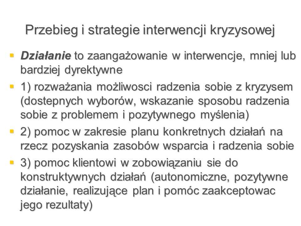 Przebieg i strategie interwencji kryzysowej  Działanie to zaangażowanie w interwencje, mniej lub bardziej dyrektywne  1) rozważania możliwosci radze