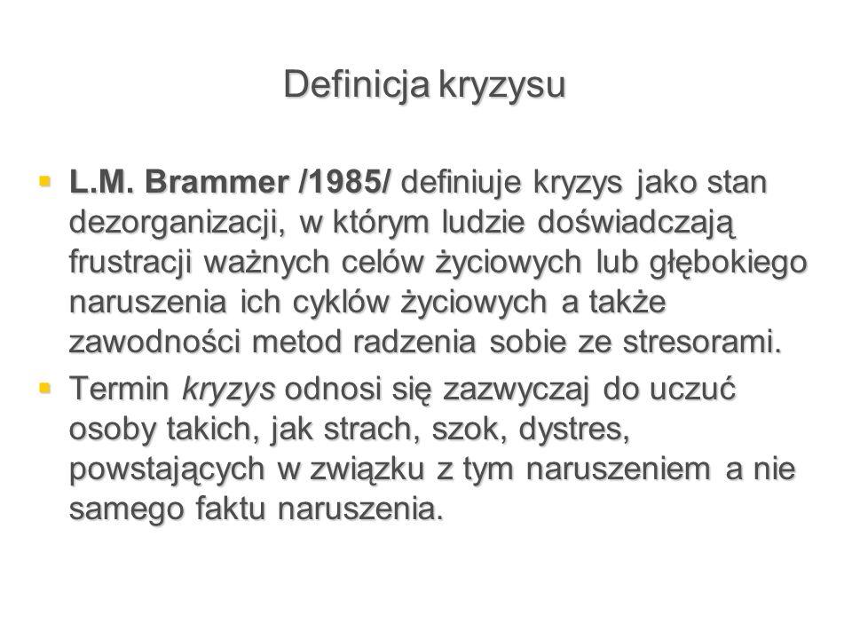 Definicja kryzysu  L.M. Brammer /1985/ definiuje kryzys jako stan dezorganizacji, w którym ludzie doświadczają frustracji ważnych celów życiowych lub