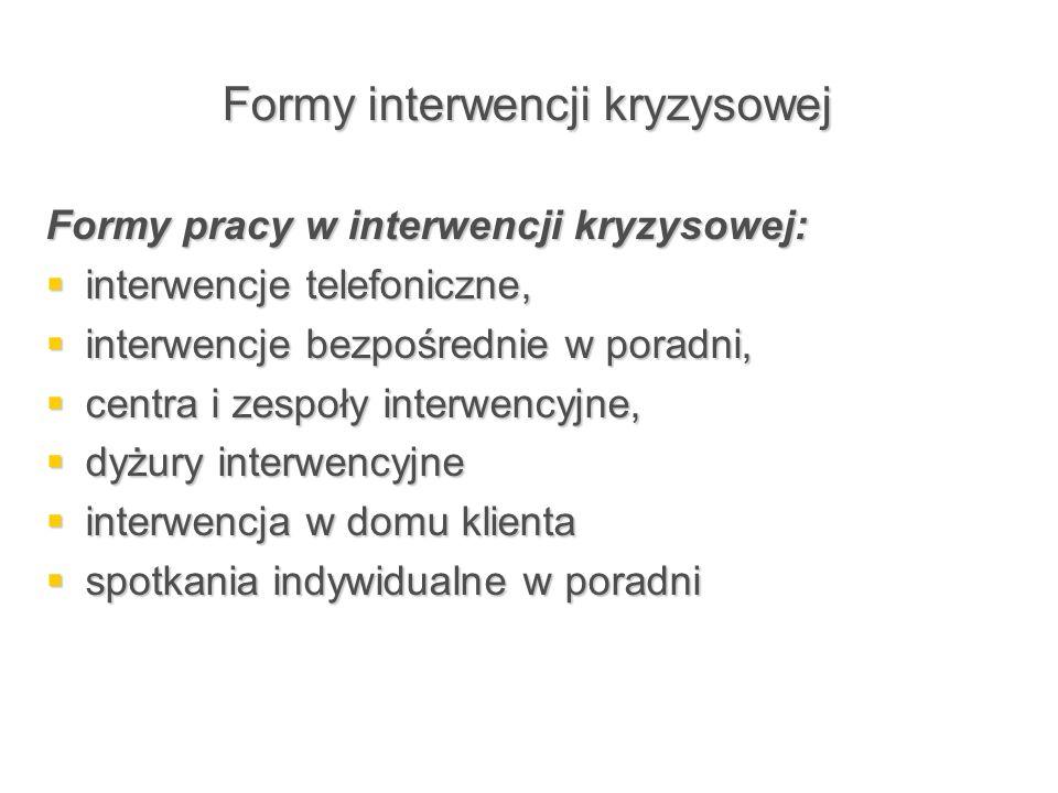 Formy interwencji kryzysowej Formy pracy w interwencji kryzysowej:  interwencje telefoniczne,  interwencje bezpośrednie w poradni,  centra i zespoł