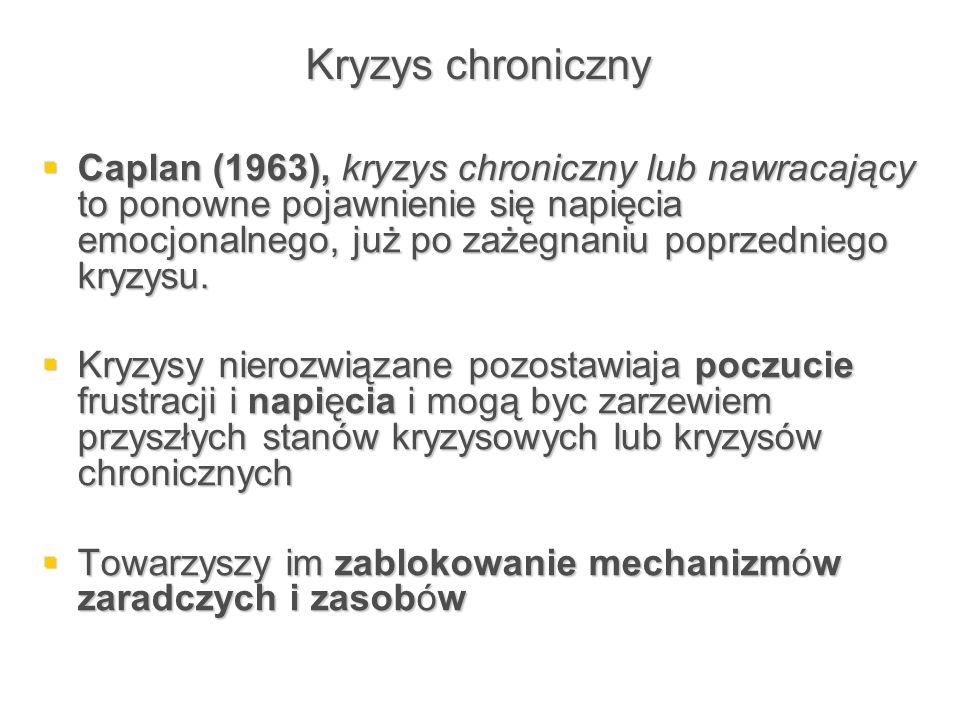 Kryzys chroniczny  Caplan (1963), kryzys chroniczny lub nawracający to ponowne pojawnienie się napięcia emocjonalnego, już po zażegnaniu poprzedniego