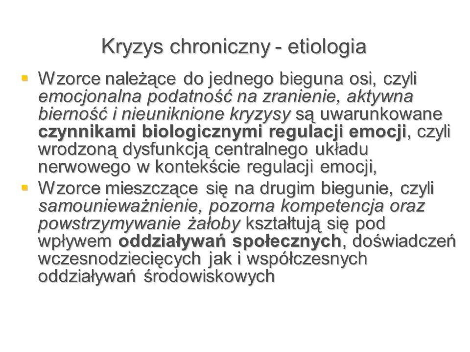 Kryzys chroniczny - etiologia  Wzorce należące do jednego bieguna osi, czyli emocjonalna podatność na zranienie, aktywna bierność i nieuniknione kryz