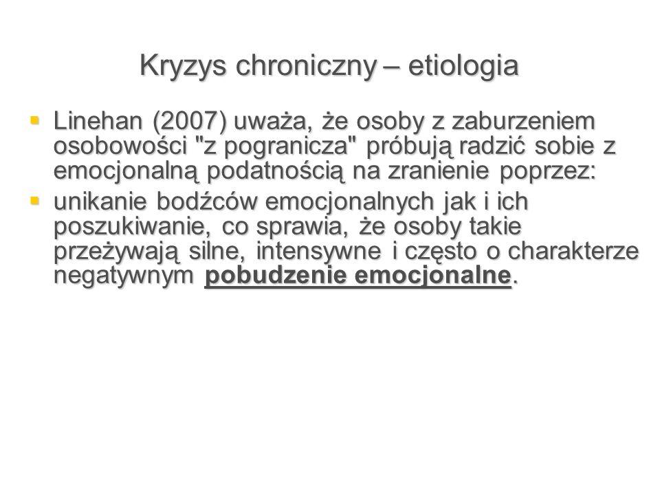 Kryzys chroniczny – etiologia  Linehan (2007) uważa, że osoby z zaburzeniem osobowości