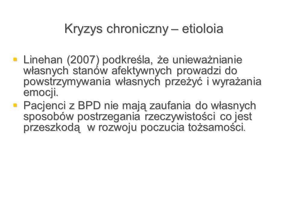 Kryzys chroniczny – etioloia  Linehan (2007) podkreśla, że unieważnianie własnych stanów afektywnych prowadzi do powstrzymywania własnych przeżyć i w