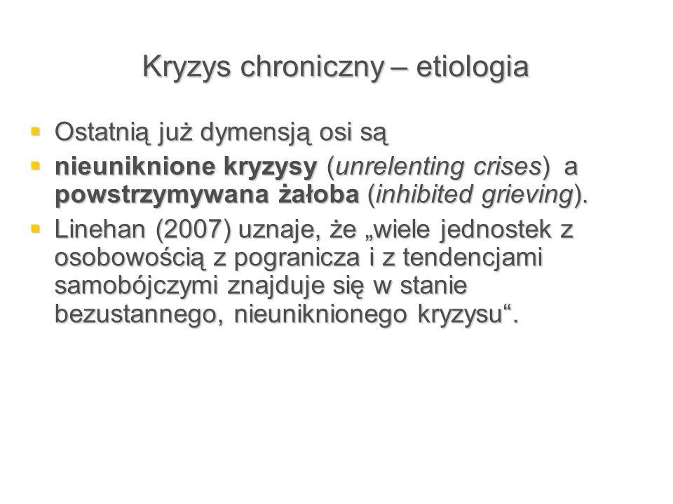 Kryzys chroniczny – etiologia  Ostatnią już dymensją osi są  nieuniknione kryzysy (unrelenting crises) a powstrzymywana żałoba (inhibited grieving).