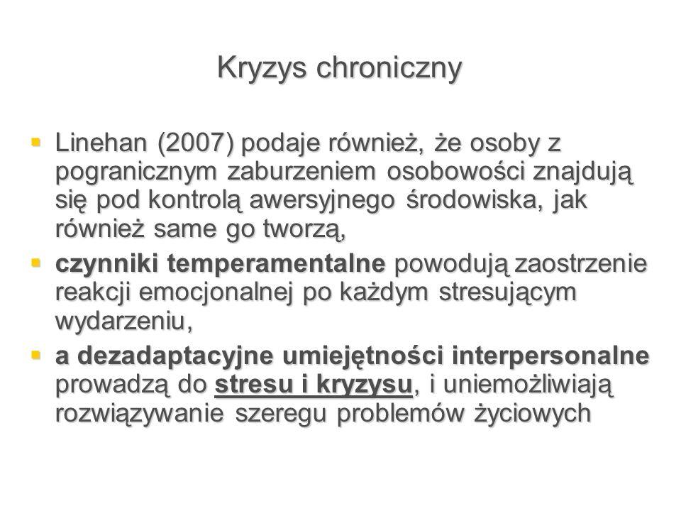Kryzys chroniczny  Linehan (2007) podaje również, że osoby z pogranicznym zaburzeniem osobowości znajdują się pod kontrolą awersyjnego środowiska, ja