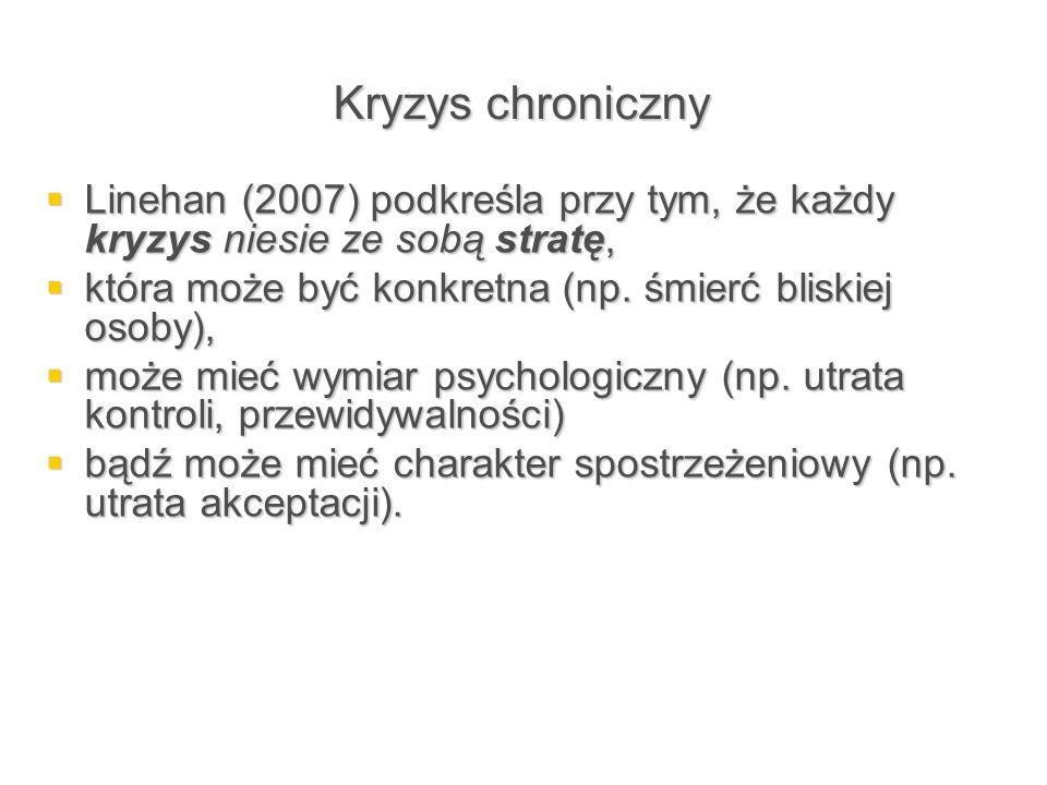 Kryzys chroniczny  Linehan (2007) podkreśla przy tym, że każdy kryzys niesie ze sobą stratę,  która może być konkretna (np. śmierć bliskiej osoby),