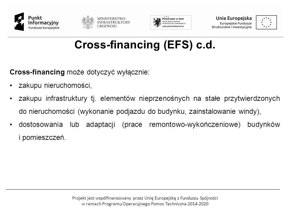 Projekt jest współfinansowany przez Unię Europejską z Funduszu Spójności w ramach Programu Operacyjnego Pomoc Techniczna 2014-2020 Cross-financing (EFS) c.d.