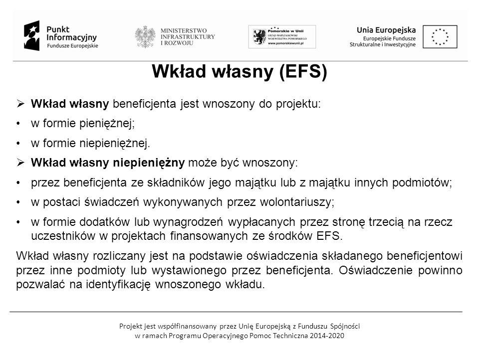 Projekt jest współfinansowany przez Unię Europejską z Funduszu Spójności w ramach Programu Operacyjnego Pomoc Techniczna 2014-2020 Wkład własny (EFS)