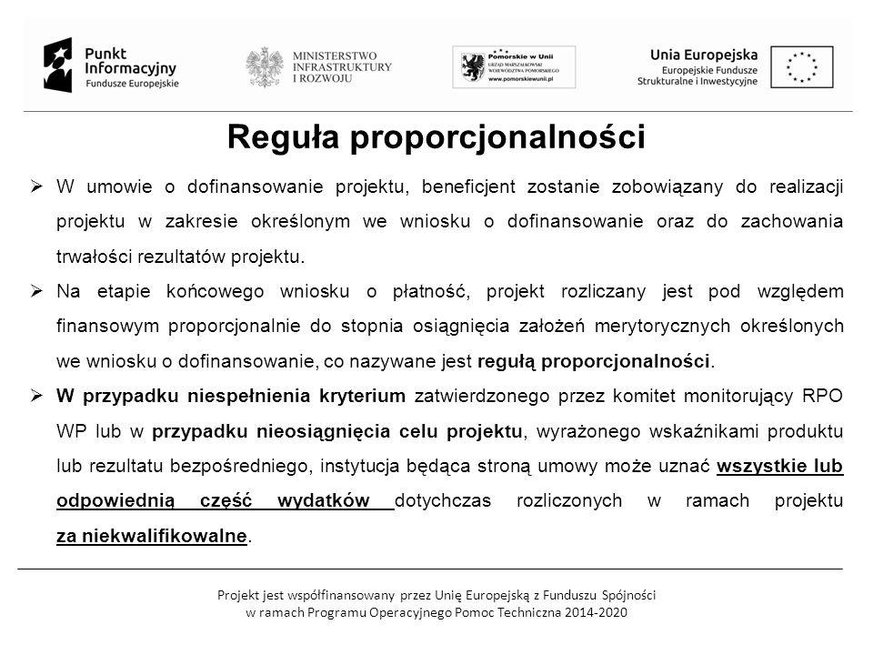 Projekt jest współfinansowany przez Unię Europejską z Funduszu Spójności w ramach Programu Operacyjnego Pomoc Techniczna 2014-2020 Reguła proporcjonal