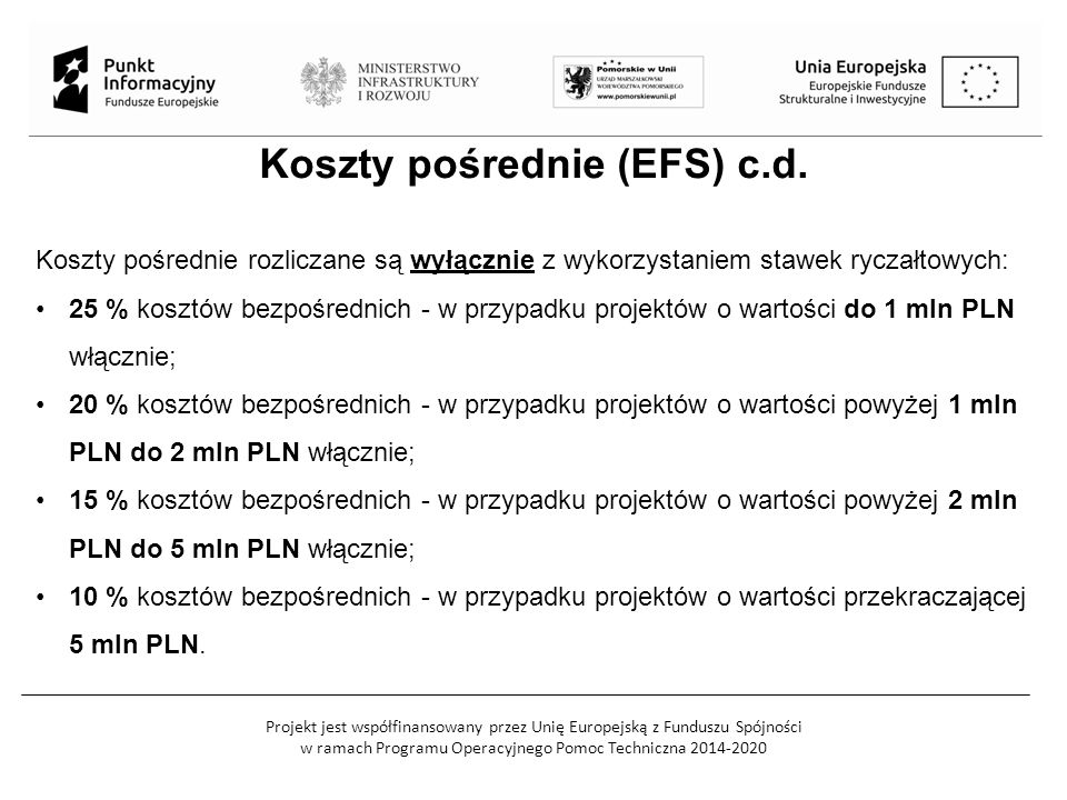 Projekt jest współfinansowany przez Unię Europejską z Funduszu Spójności w ramach Programu Operacyjnego Pomoc Techniczna 2014-2020 Koszty pośrednie (E