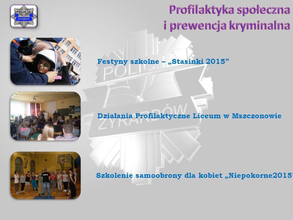 """Działania Profilaktyczne Liceum w Mszczonowie Szkolenie samoobrony dla kobiet """"Niepokorne2015 Festyny szkolne – """"Stasinki 2015"""