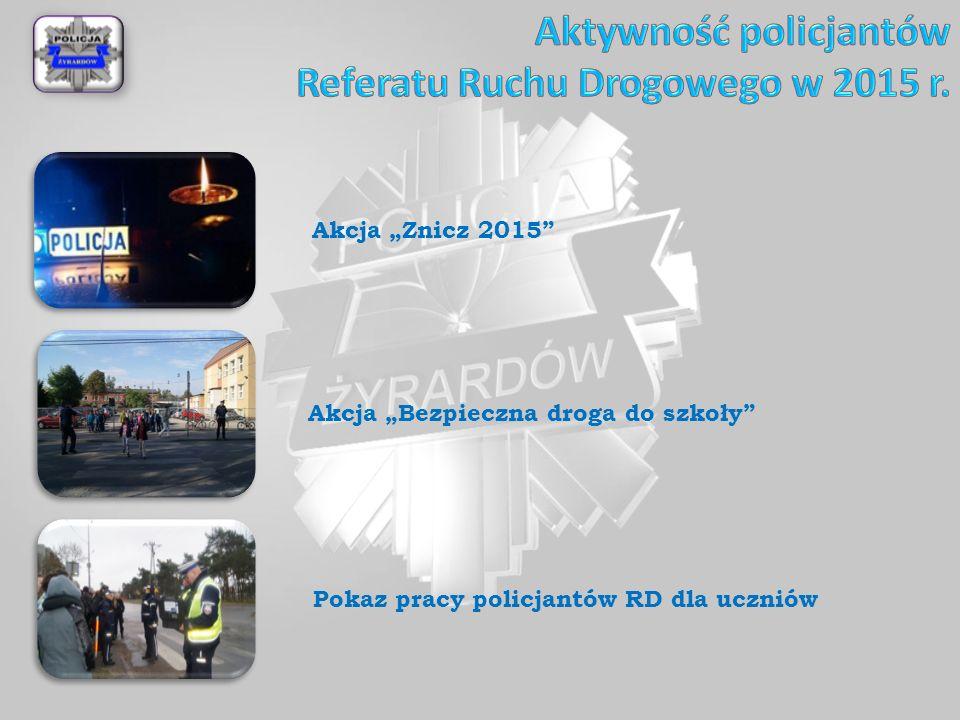 """Akcja """"Znicz 2015 Akcja """"Bezpieczna droga do szkoły Pokaz pracy policjantów RD dla uczniów"""