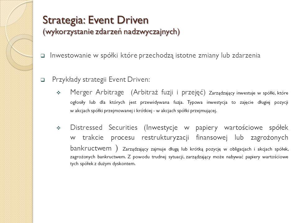  Inwestowanie w spółki które przechodzą istotne zmiany lub zdarzenia  Przykłady strategii Event Driven:  Merger Arbitrage (Arbitraż fuzji i przejęć) Zarządzający inwestuje w spółki, które ogłosiły lub dla których jest przewidywana fuzja.