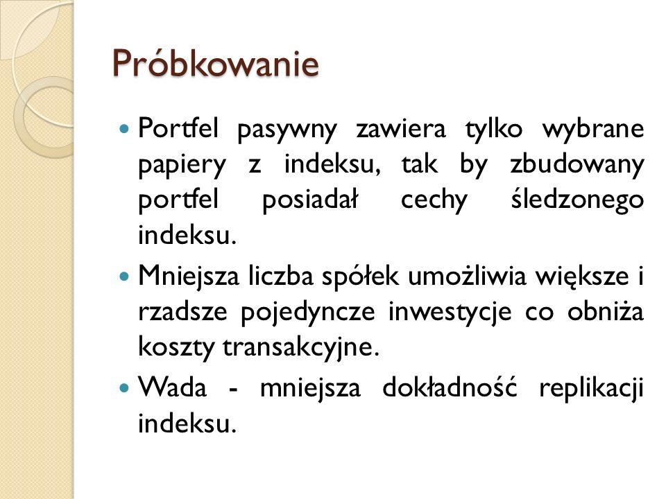 Próbkowanie Portfel pasywny zawiera tylko wybrane papiery z indeksu, tak by zbudowany portfel posiadał cechy śledzonego indeksu.