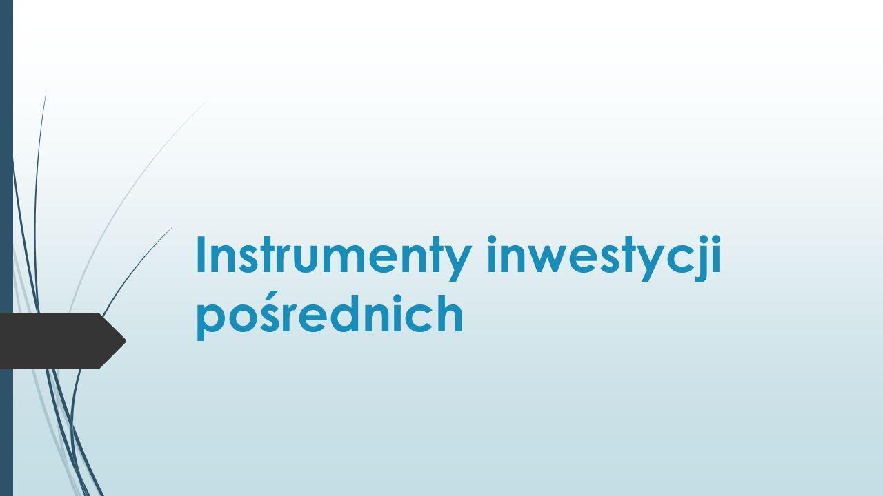 Formy inwestycji pośrednich na rynku nieruchomości Spółki nieruchomości owe (akcje) Fundusze Inwestycyjne: Jednostki uczestnictwa Certyfikaty inwestycyjne REITs Listy zastawne Papiery wartościowe oparte na kredytach Hipotecznych (Mortgage Backed Securities) Instrumenty pochodne (np.