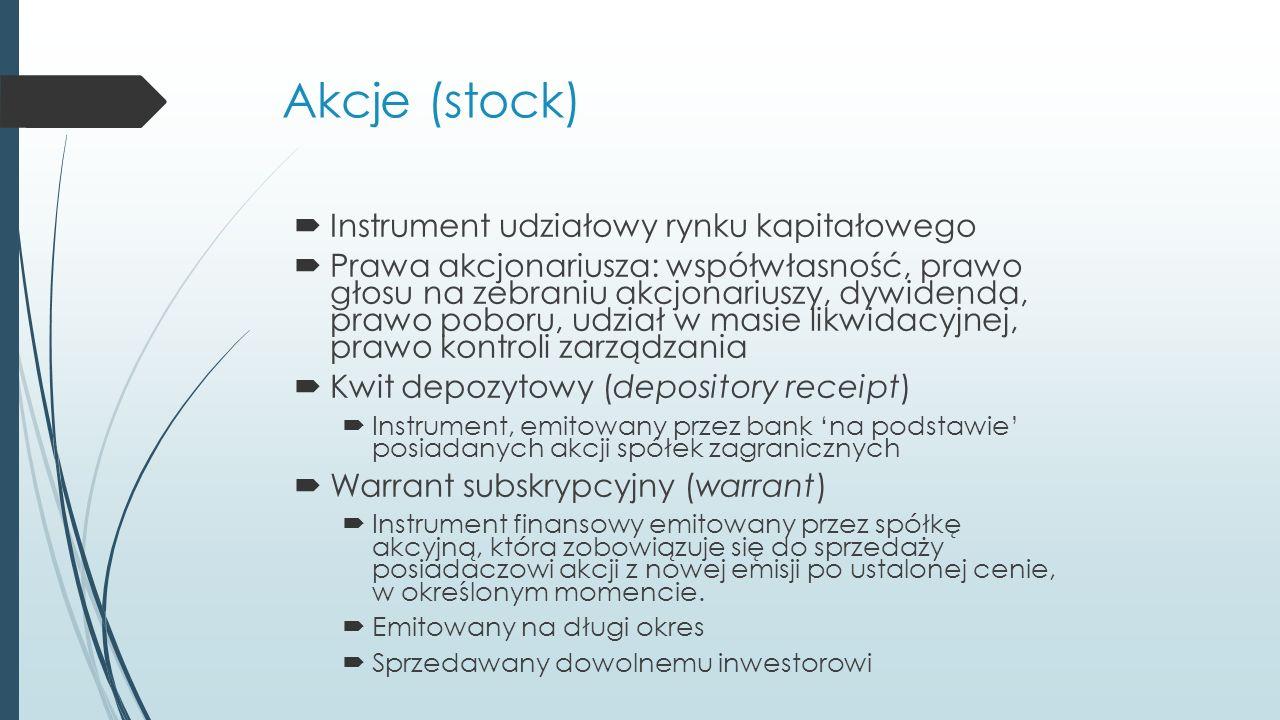 Akcje (stock)  Instrument udziałowy rynku kapitałowego  Prawa akcjonariusza: współwłasność, prawo głosu na zebraniu akcjonariuszy, dywidenda, prawo poboru, udział w masie likwidacyjnej, prawo kontroli zarządzania  Kwit depozytowy (depository receipt)  Instrument, emitowany przez bank 'na podstawie' posiadanych akcji spółek zagranicznych  Warrant subskrypcyjny (warrant)  Instrument finansowy emitowany przez spółkę akcyjną, która zobowiązuje się do sprzedaży posiadaczowi akcji z nowej emisji po ustalonej cenie, w określonym momencie.