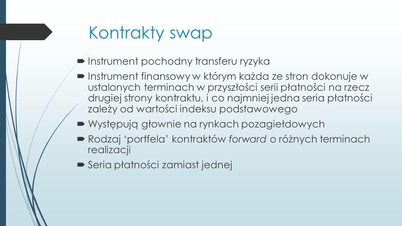 Kontrakty swap  Instrument pochodny transferu ryzyka  Instrument finansowy w którym każda ze stron dokonuje w ustalonych terminach w przyszłości serii płatności na rzecz drugiej strony kontraktu, i co najmniej jedna seria płatności zależy od wartości indeksu podstawowego  Występują głownie na rynkach pozagiełdowych  Rodzaj 'portfela' kontraktów forward o różnych terminach realizacji  Seria płatności zamiast jednej